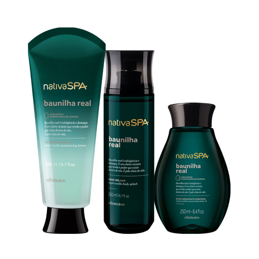 Combo-Nativa-SPA-Baunilha-Real--Locao-Hidratante-200ml---Oleo-Corporal-250ml---Body-Splash-200ml